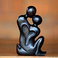 Wood sculpture, 'Cherish' - Hand Carved Romantic Sculpture