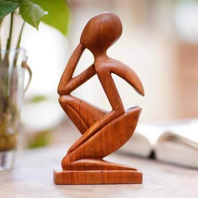 Wood sculpture, 'Alone' - Hand Made Thought and Meditation Wood Sculpture