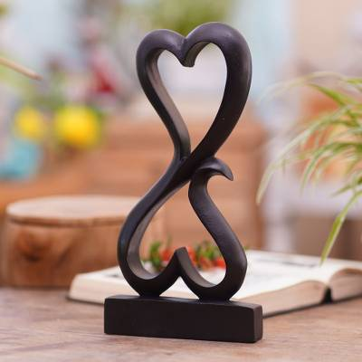 Wood sculpture, 'Love Unites' - Artisan Crafted Romantic Wood Sculpture