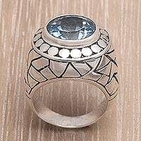 Blue topaz cocktail ring, 'Blue Ocean'
