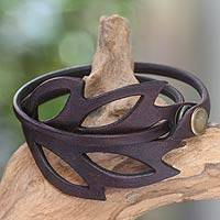 Leather wrap bracelet, 'Autumn Leaf' - Hand Crafted Leather Bracelet from Indonesia
