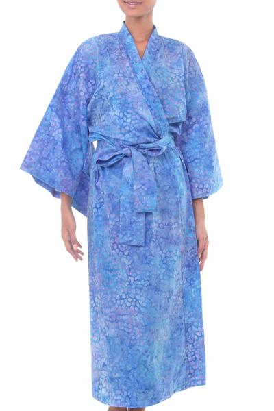 Unique Light Blue and Lavender Purple Cotton Tie Dye Women
