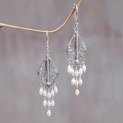 Pearl chandelier earrings, White Iridescence
