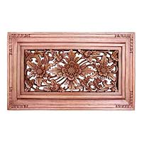 Wood relief panel Flower of Dreams Indonesia