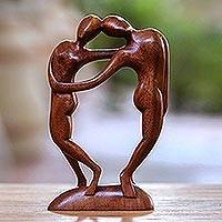 Wood sculpture, 'Couple in Love' - Wood sculpture