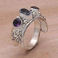 Blue topaz and amethyst wrap ring, 'Morning Joy' - Amethyst and Blue Topaz Ring