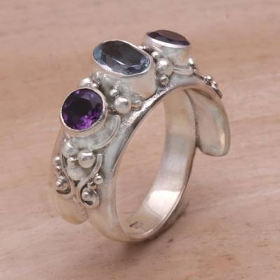silver wide band rings - Amethyst and Blue Topaz Ring