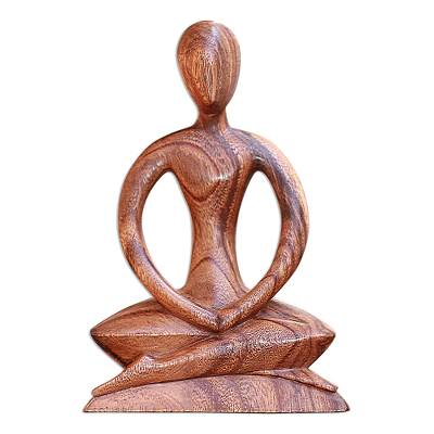 Handcrafted Wood Yoga Sculpture