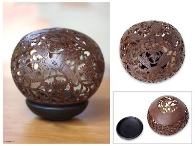 Coconut shell sculpture, 'Dragonfly Garden' - Handmade Coconut Shell Carving