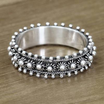 montana silver jewelry rings engagement - Unique Floral Sterling Silver Band Ring