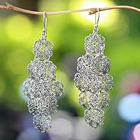 Sterling silver flower earrings, 'Promises' - Floral Sterling Silver Chandelier Earrings