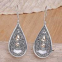 Sterling silver drop earrings, 'Bali Antique' - Sterling Silver and 18k Gold Plated Earrings