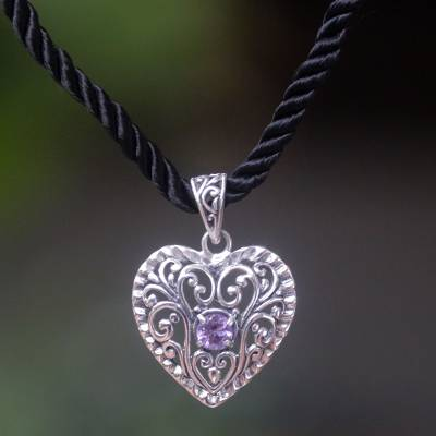Amethyst heart necklace, 'Dream Love' - Amethyst heart necklace