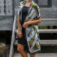 Silk batik shawl, 'Olive Leaf' (Indonesia)