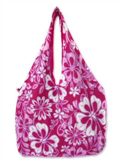 Cotton hobo shoulder bag