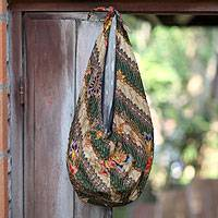 Cotton batik shoulder bag, 'Tropical Feast' - Beaded Batik Cotton Shoulder Bag