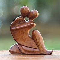 Wood sculpture, 'The Embrace'
