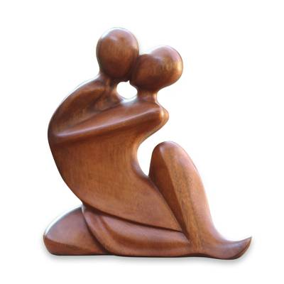Fair Trade Natural Grain Brown Suar Wood Abstract Romantic Sculpture