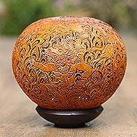 Coconut shell sculpture, 'Ramayana' - Unique Coconut Shell Sculpture