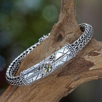 Men's citrine braided bracelet, 'Meditate' - Men's citrine braided bracelet