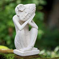 Sandstone sculpture, 'Flower Girl' - Sandstone sculpture