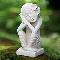 Sandstone sculpture, 'Woman in Love' - Hand Made Sandstone Sculpture