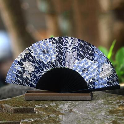 Silk batik fan, 'Blue Poppies' - Silk batik fan
