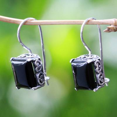 Onyx drop earrings, 'Imagine' - Sterling Silver Onyx Drop Earrings