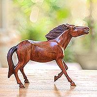 Wood statuette, 'Wild and Free' - Wood statuette