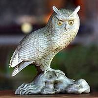 Wood statuette, 'Wise Owl' - Wood statuette