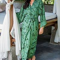Women's batik robe 'Green Destiny' - Women's Hand Made Batik Patterned Robe