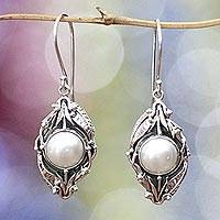 Pearl flower earrings, 'Nest of Lilies' - Unique Pearl and Sterling Silver Dangle Earrings