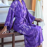 Women's batik robe 'Breezy Bamboo'