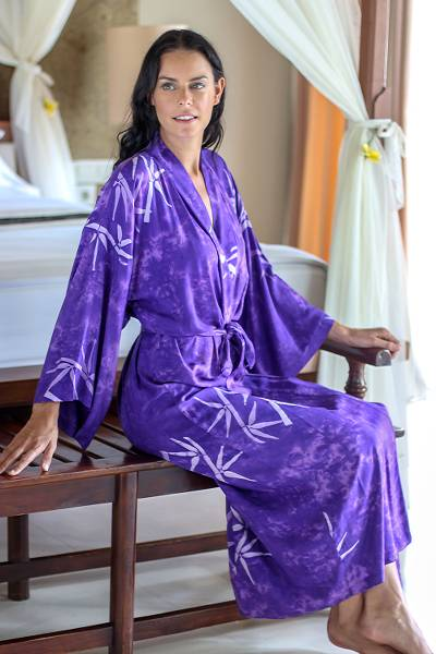 Women's batik robe 'Breezy Bamboo' - Handmade Purple Batik Robe