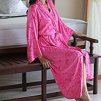 Women's batik robe 'Crimson Destiny' - Women's Batik Patterned Robe from Indonesia