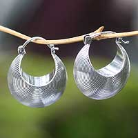 Sterling silver hoop earrings, 'Hypnotic Moon' - Sterling silver hoop earrings