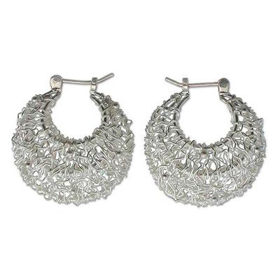 Hand Made Sterling Silver Hoop Earrings