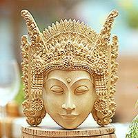 Wood mask, 'Balinese Mother Earth' - Cultural Crocodile Wood Mask