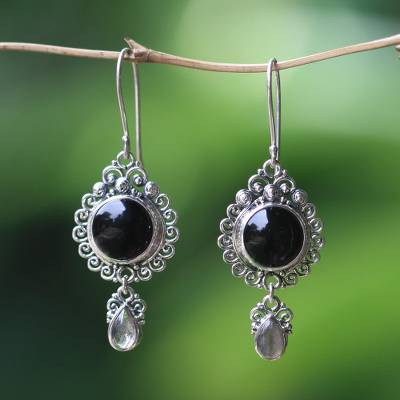 Onyx and labradorite dangle earrings, 'Midnight Tears' - Indonesian Sterling Silver Onyx Dangle Earrings