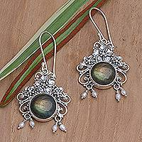 Pearl and labradorite flower earrings,