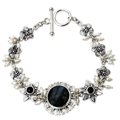 Unique Labradorite and Pearl Bracelet