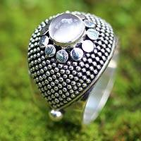 Moonstone domed ring, 'Moonbeams' - Modern Sterling Silver and Moonstone Ring from Bali
