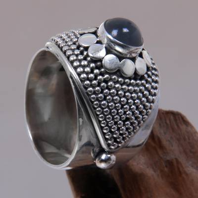 silver ring chain care system - Modern Sterling Silver and Moonstone Ring from Bali
