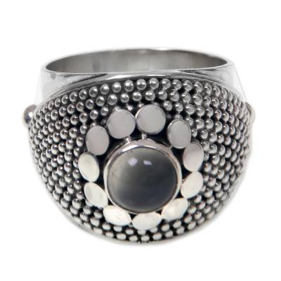 Modern Sterling Silver and Moonstone Ring from Bali