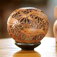 Coconut shell sculpture, 'Smiling Dolphins' - Hand Carved Coconut Shell Sculpture with Stand