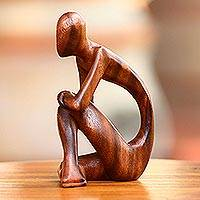 Wood sculpture, 'Alone' - Wood sculpture