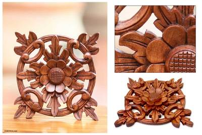 Wood wall panel, 'Sunflower Star' - Hand Carved Wood Wall Panel