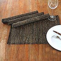 Cotton placemats, 'Nature by Night' (set of 4) - Cotton Placemats from Indonesia (Set of 4)