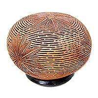 Coconut shell sculpture, 'Palm Fronds' - Coconut Shell Carving