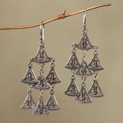 Sterling silver chandelier earrings, 'Java Belle' - Handmade Sterling Silver Chandelier Earrings
